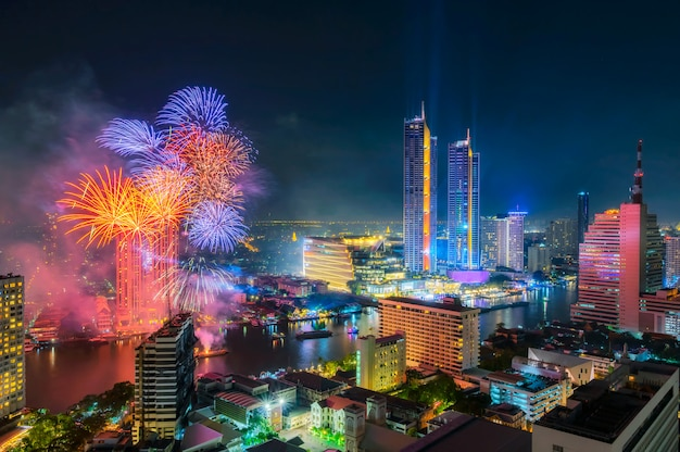 Bangkok stad gelukkig nieuwjaar.