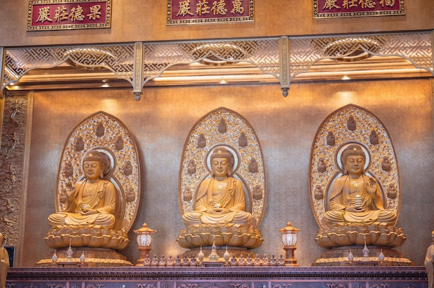 Bangkok, thailand-15 nov 2020: boeddhabeelden in tempelkathedraal bij foguangshan thaihua tempel thailand. fo guang shan is een van de vier grote boeddhistische organisaties in taiwan