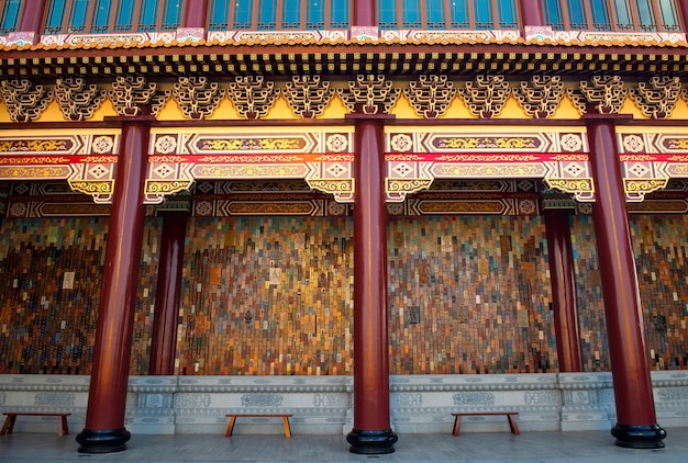 Bangkok, thailand: 28 maart 2021 buitenarchitectuur. nationale fo guang shan thaihua tempel in het centrum van bangkok, thailand. stad. chiang kai shek herdenkingshal