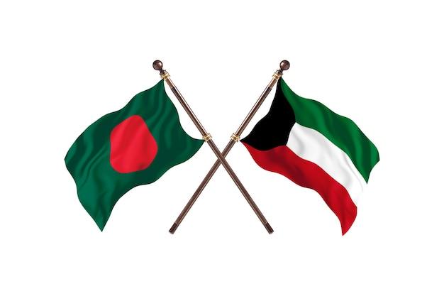 Bangladesh versus koeweit vlaggen achtergrond