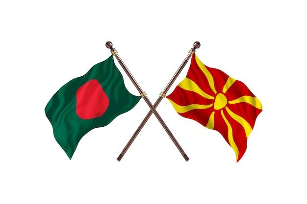 Bangladesh versus macedonië vlaggen achtergrond