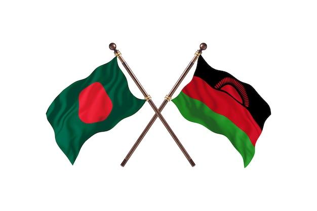 Bangladesh versus malawi vlaggen achtergrond