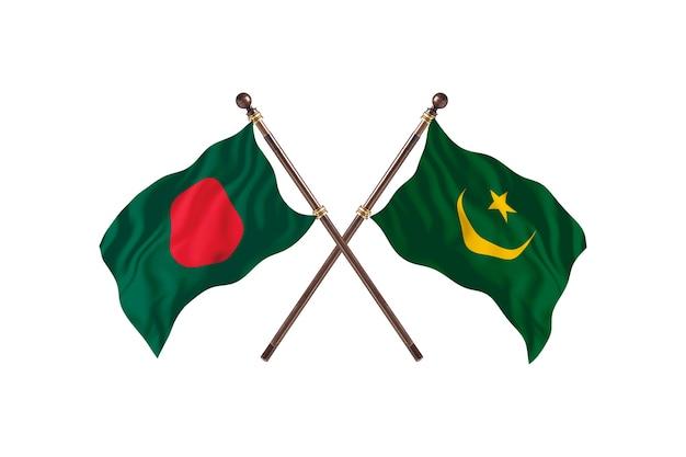 Bangladesh versus mauritanië vlaggen achtergrond
