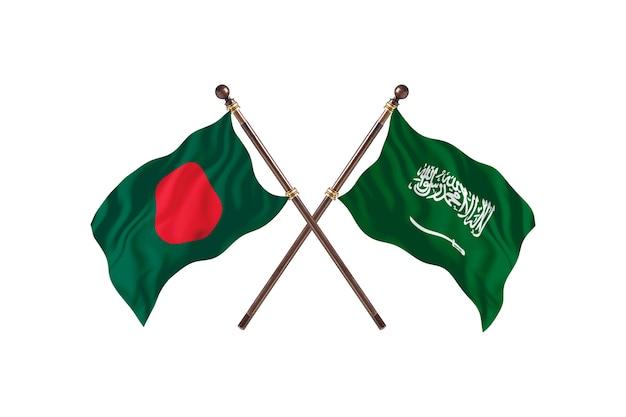 Bangladesh versus saoedi-arabië vlaggen achtergrond