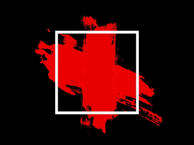 Banier. wit vierkant met rode aanraking geïsoleerd op zwarte achtergrond. hoge kwaliteit foto