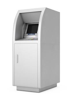 Bank cash atm machine op een witte achtergrond. 3d-rendering