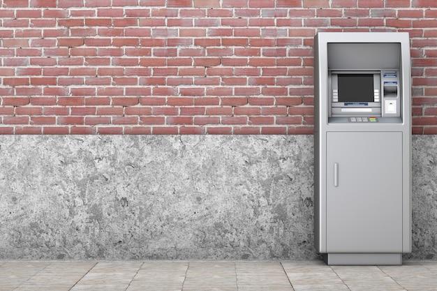 Bank cash atm-machine voor bakstenen muur. 3d-rendering