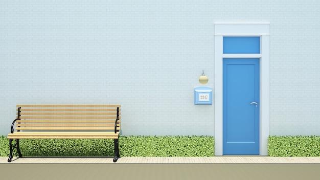 Bank en gele deur bij het witte baksteen achtergrond-3d teruggeven