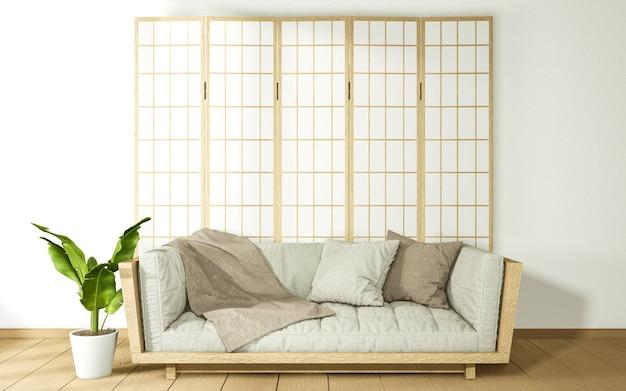 Bank en japanse papieren scheidingswand met bloempotdecoratie. 3d-weergave