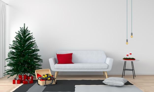 Bank en kerstboom in de woonkamer