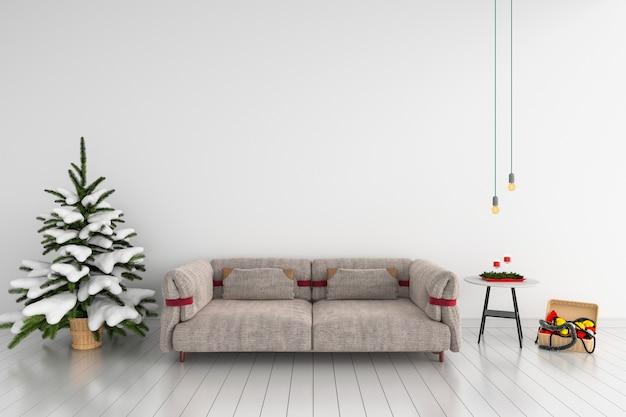 Bank en kerstboom in witte woonkamer