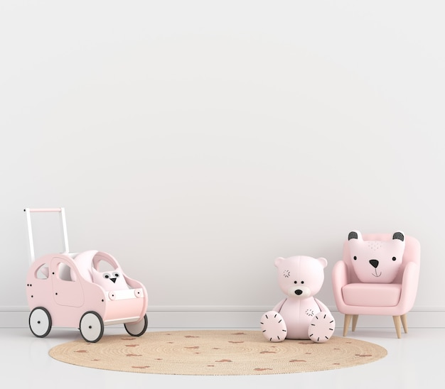 Bank en pop in witte kinderkamer met kopieerruimte
