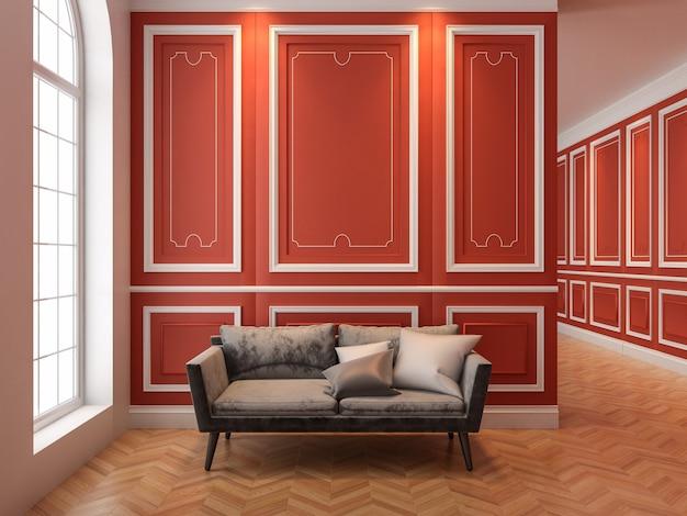 Bank in klassiek rood interieur. 3d render interieur.