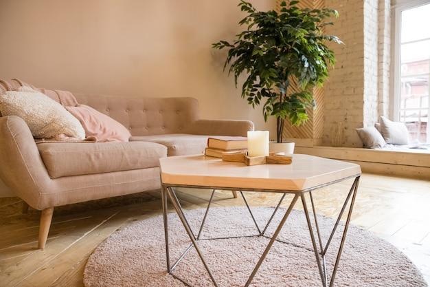 Bank, koffietafel en installatie in skandinavisch gestileerd woonkamer.