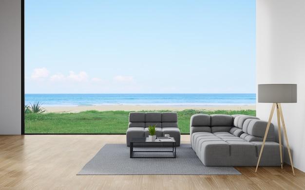 Bank op de houten vloer van een woonkamer in een modern huis met uitzicht op de lucht en de zee