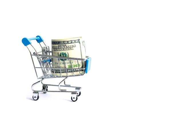Bankbiljet honderd ons dollarrekening in mandsupermarkt