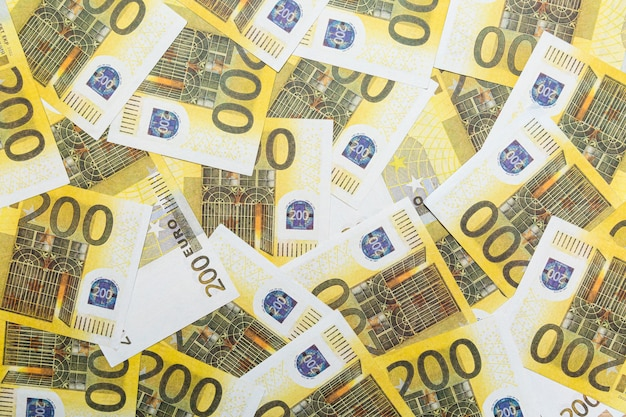 Bankbiljetten 200 euro abstracte achtergrond