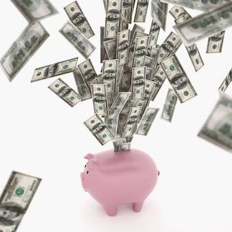 Bankbiljetten uit een spaarvarken. economische rijkdom concept. 3d-weergave