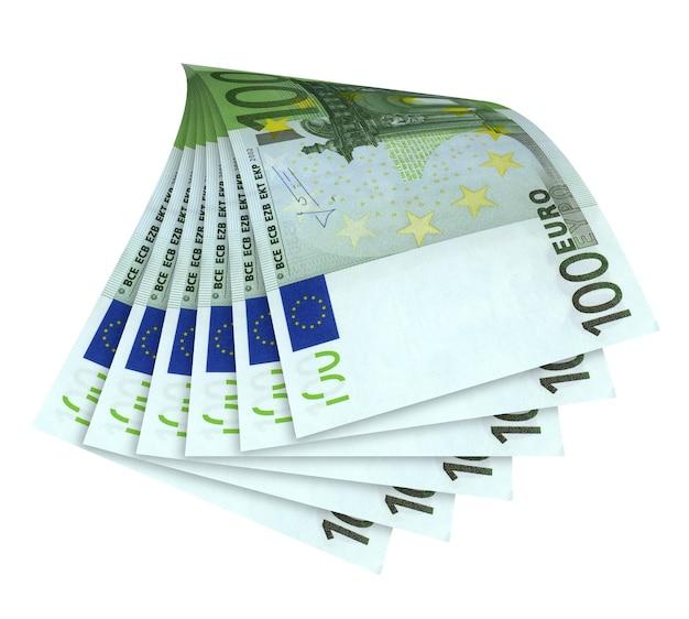 Bankbiljetten van euro geïsoleerd