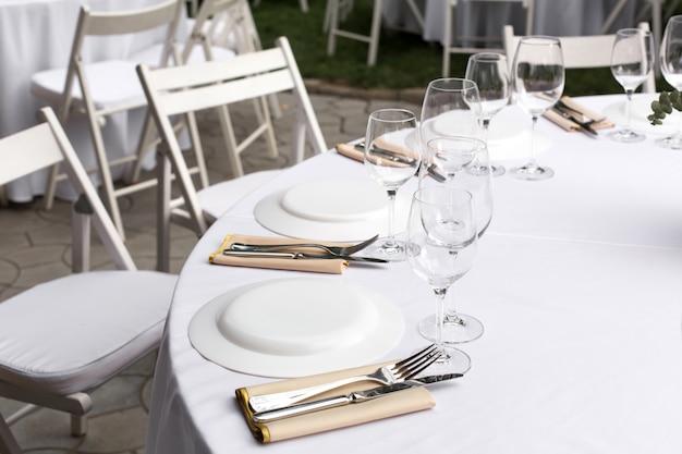 Bankettafel voor gasten buitenshuis