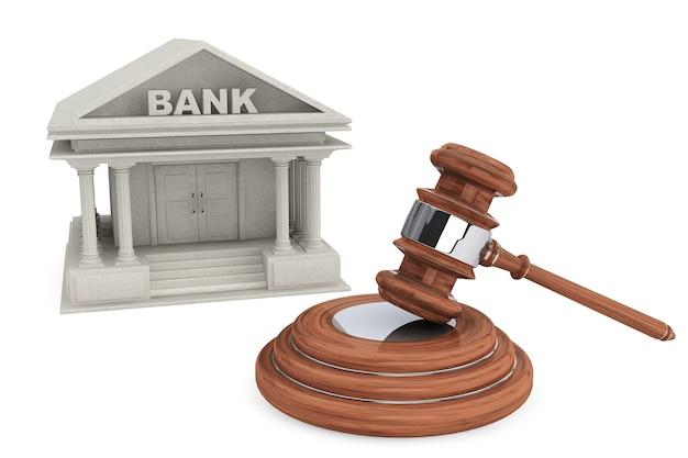 Bankgebouw en rechters hof hamer op een witte achtergrond