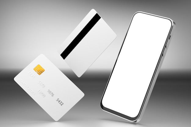 Bankkaartmodel met chip en smartphone. smartphone wit scherm. online betalingen plastic kaart. horizontaal model. 3d weergegeven.
