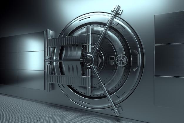 Bankkluisdeur, grote kluis, stevig metaal. het concept van bankdeposito's, deposito's, cellen, goede bescherming van spaargelden. kopieer ruimte, 3d illustratie, 3d render.