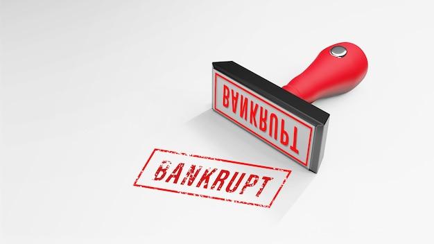 Bankrup rubberstempel 3d-rendering