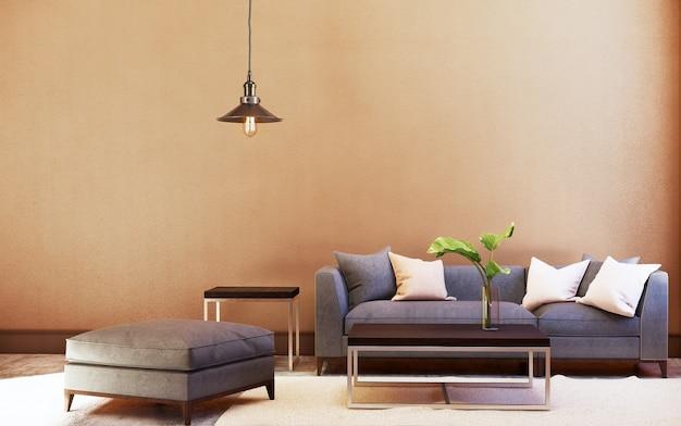 Bankstel en tafel en plafondlamp met oranje wand. 3d-weergave
