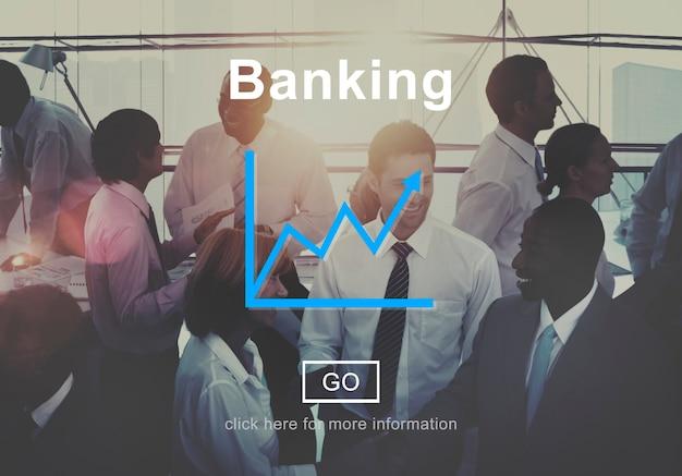 Bankwezen financiële besparingen vooruitgang grafiek concept