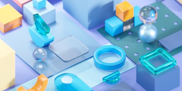 Banner blauw glas geometrie vormen abstracte compositie kunst 3d rendering
