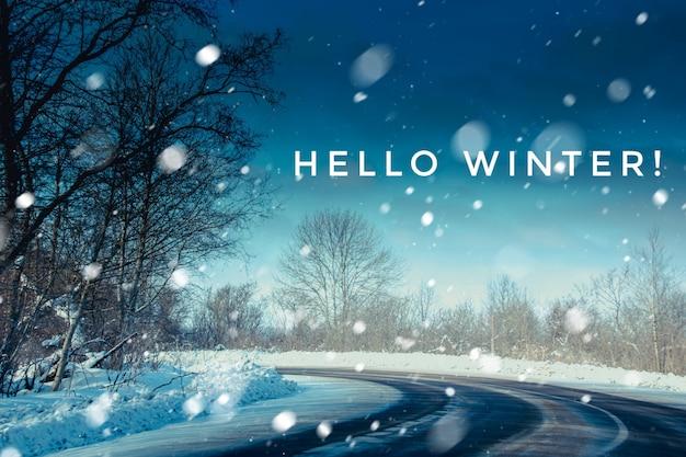Banner hallo winter. de foto van hallo winter. nieuw seizoen. natuur. winter weg. sneeuw weg.