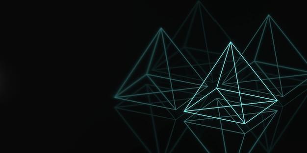Banner hologram pyramide geometrie donker.