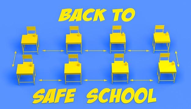 Banner met gescheiden schoolbanken met de veiligheidsafstand en vloeibare zeep
