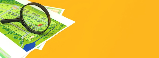 Banner onroerend goed kaarten, op zoek naar een land voor woningbouw, officiële documenten op het bureau met vergrootglas, kopieer ruimtefoto