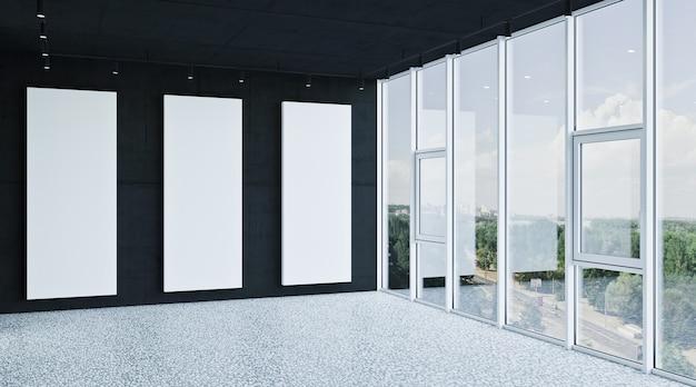Banner op muur, lege moderne interieur 3d-rendering
