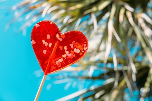 Banner van hartvormige lollies op blauwe hemel en palm achtergrond