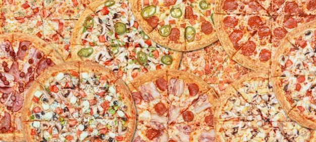 Bannerachtergrond met verschillende soorten pizza