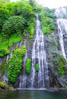 Banyumala twin waterval in berghelling in bali. jungle waterval cascade in tropisch regenwoud met rock en turquoise blauwe vijver.