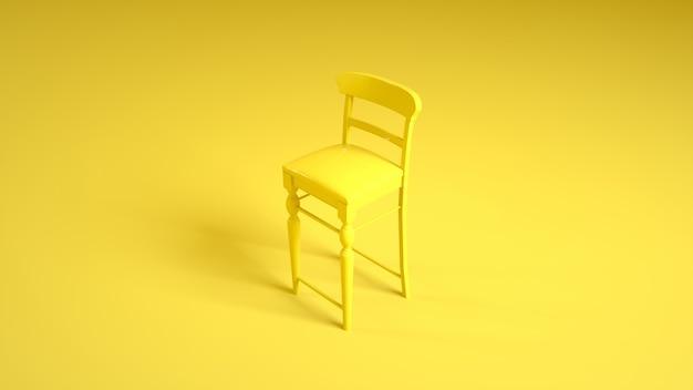 Bar of restaurantstoel op geel. 3d-afbeelding.