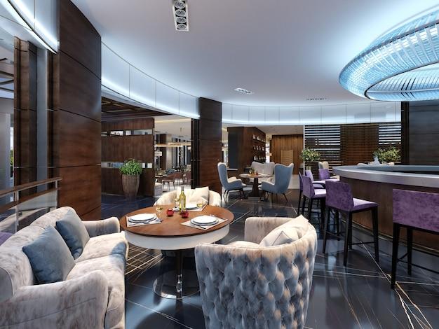 Bar restaurant met balie in eigentijdse stijl. 3d-rendering