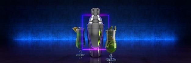 Bar tools en cocktail 3d-rendering