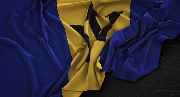 Barbados vlag gerimpeld op donkere achtergrond 3d render