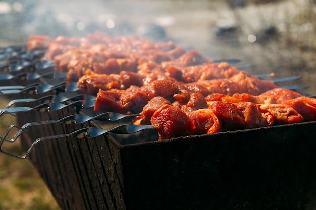 Barbecue op spiesjes op de grill