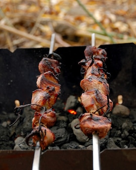 Barbecue. vlees gebakken in een rooster op kolen.