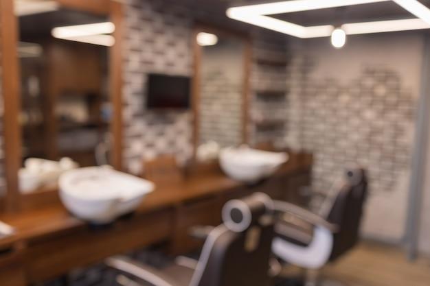 Barbershop onscherpe achtergrond kapper en kapsalon kapperszaak voor mannen