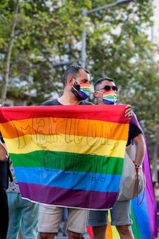 Barcelona, spanje; 22 juli-2021: demonstratie tegen lgtbifoob geweld