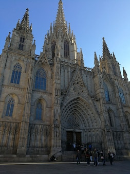 Barcelona, spanje, 23 december 2017 uitzicht op de kathedraal van barcelona