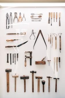 Barcelona spanje december vintage architect tools exposeren in het museum
