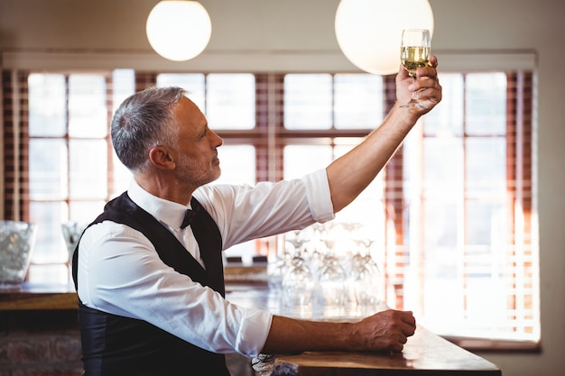 Barman die een wijnglas steunt bij barteller